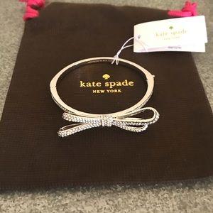 "[Kate Spade] ""Tied Up"" crystal silver bow bracelet"